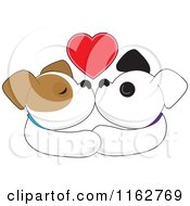 Cartoon Of A Puppy Couple Smooching Under A Red Heart Royalty Free Vector Clipart