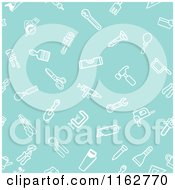 Clipart Of A Seamless Turquoise Hardware And Tool Icon Pattern Royalty Free Vector Illustration