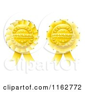 Clipart Of Golden Winner Award Ribbon Medals Royalty Free Vector Illustration by AtStockIllustration