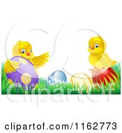 Cartoon Of Yellow Easter Chicks Playing In Grass With Eggs Royalty Free Vector Clipart