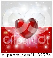 Clipart Of A Shiny Red Heart And Fireworks Over A Poland Flag Royalty Free Vector Illustration