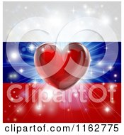 Clipart Of A Shiny Red Heart And Fireworks Over A Russia Flag Royalty Free Vector Illustration