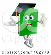 Cartoon Of A Green Book Mascot Graduate Royalty Free Vector Clipart