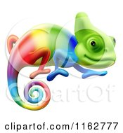 Cartoon Of A Gradient Rainbow Chameleon Lizard Royalty Free Vector Clipart