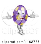 Cartoon Of A Purple And Yellow Polka Dot Easter Egg Mascot Royalty Free Vector Clipart