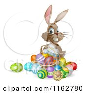 Cartoon Of A Happy Easter Bunny With A Basket Of Easter Eggs Royalty Free Vector Clipart by AtStockIllustration