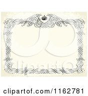 Clipart Of A Distressed Beige Invitation With A Black Frame And Crown Royalty Free Vector Illustration by BestVector