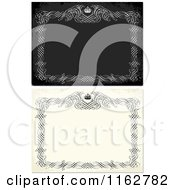 Clipart Of Distressed Invitations With Frames And Crowns Royalty Free Vector Illustration