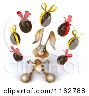 Clipart Of A 3d Brown Bunny Juggling Chocolate Easter Eggs Royalty Free CGI Illustration