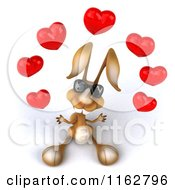Clipart Of A 3d Brown Bunny Wearing Sunglasses And Juggling Hearts Royalty Free CGI Illustration