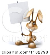 Clipart Of A 3d Brown Bunny Holding A Sign Royalty Free CGI Illustration