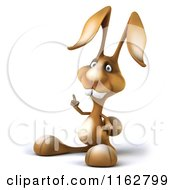 Clipart Of A 3d Brown Bunny Pointing Up Royalty Free CGI Illustration