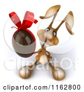 Clipart Of A 3d Brown Bunny Holding A Chocolate Easter Egg Royalty Free CGI Illustration