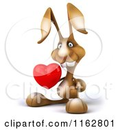 Clipart Of A 3d Brown Bunny Holding A Heart Royalty Free CGI Illustration