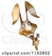 Clipart Of A 3d Brown Bunny Looking Around A Sign Royalty Free CGI Illustration