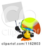 Cartoon Of A Toucan Mascot Holding A Sign Royalty Free Clipart