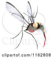 Clipart Of A 3d Mosquito With A Sign 4 Royalty Free CGI Illustration