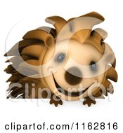 Clipart Of A 3d Happy Hedgehog Over A Sign Royalty Free CGI Illustration by Julos