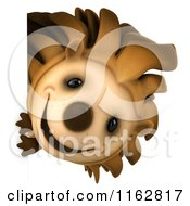 Clipart Of A 3d Happy Hedgehog Looking Around A Sign Royalty Free CGI Illustration by Julos