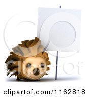 Clipart Of A 3d Happy Hedgehog By A Sign Royalty Free CGI Illustration by Julos