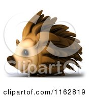 Clipart Of A 3d Happy Hedgehog Facing Left Royalty Free CGI Illustration by Julos