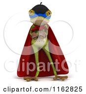 Clipart Of A 3d French Super Frog With Folded Arms Royalty Free CGI Illustration