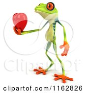 Clipart Of A 3d Argie Frog Holding A Red Valentine Heart 3 Royalty Free CGI Illustration