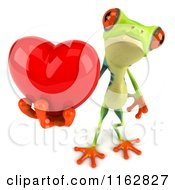 Clipart Of A 3d Argie Frog Holding A Red Valentine Heart 2 Royalty Free CGI Illustration by Julos