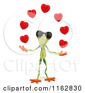 Clipart Of A 3d Argie Frog Wearing Sunglasses And Juggling Hearts Royalty Free CGI Illustration