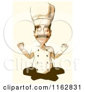 Cartoon Of A Halftone Male Chef Meditating With Vintage Sepia Tones Royalty Free Clipart