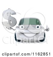 Clipart Of A 3d White Car Holding A Dollar Symbol 2 Royalty Free CGI Illustration