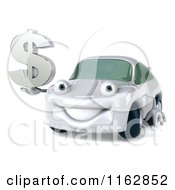 Clipart Of A 3d White Car Holding A Dollar Symbol Royalty Free CGI Illustration
