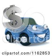 Clipart Of A 3d Blue Car Holding A Dollar Symbol Royalty Free CGI Illustration