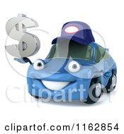 Clipart Of A 3d Blue Mechanic Car Holding A Dollar Symbol Royalty Free CGI Illustration