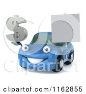 Clipart Of A 3d Blue Car Holding A Sign And Dollar Symbol 2 Royalty Free CGI Illustration