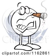 Cartoon Of A Skeptical Moodie Character With Folded Arms Smoking A Cigar Not Buying It Royalty Free Vector Clipart
