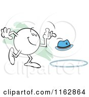 Moodie Character Tossing A Hat Into A Ring