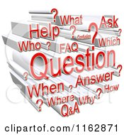 Clipart Of A 3d Red And White Question Word Collage Royalty Free CGI Illustration
