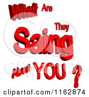 Clipart Of 3d Red What Are They Saing About You Text Royalty Free CGI Illustration