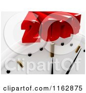 Clipart Of A 3d Wall Clock And Red 2014 Royalty Free CGI Illustration by MacX