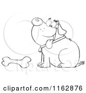 Cartoon Of An Outlined Chubby Dog Sitting With A Bone Royalty Free Vector Clipart