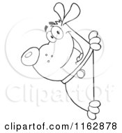 Cartoon Of An Outlined Chubby Dog Looking Around A Sign Royalty Free Vector Clipart