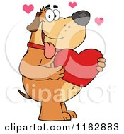 Cartoon Of A Happy Chubby Brown Dog Holding A Red Valentine Heart Royalty Free Vector Clipart by Hit Toon
