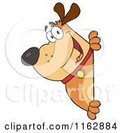 Cartoon Of A Happy Chubby Brown Dog Looking Around A Sign Royalty Free Vector Clipart