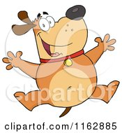 Cartoon Of A Happy Chubby Brown Dog Jumping Royalty Free Vector Clipart