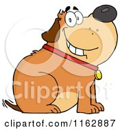 Cartoon Of A Happy Chubby Brown Dog Sitting And Wagging His Tail Royalty Free Vector Clipart