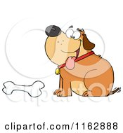 Cartoon Of A Happy Chubby Brown Dog Sitting By A Bone Royalty Free Vector Clipart