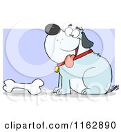 Cartoon Of A Happy Chubby Blue Dog Sitting By A Bone On Purple Royalty Free Vector Clipart
