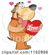 Cartoon Of A Happy Chubby Brown Dog Holding A Red Love Valentine Heart Royalty Free Vector Clipart