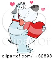 Cartoon Of A Happy Chubby Blue Dog Holding A Red Valentine Heart Royalty Free Vector Clipart